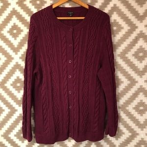 Talbots Burgundy Cable Knit Cardigan Sweater